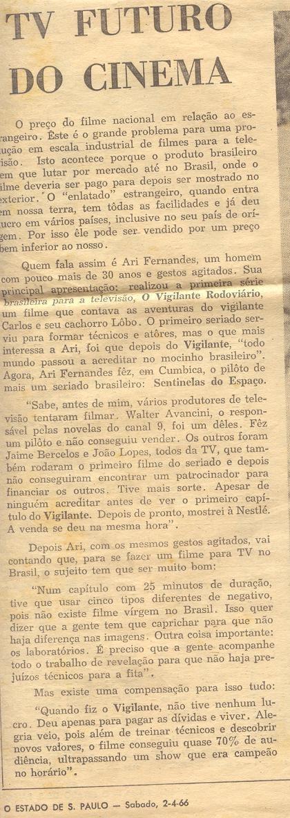Entrevista - O Estado de São Paulo - 2 de abril de 1966
