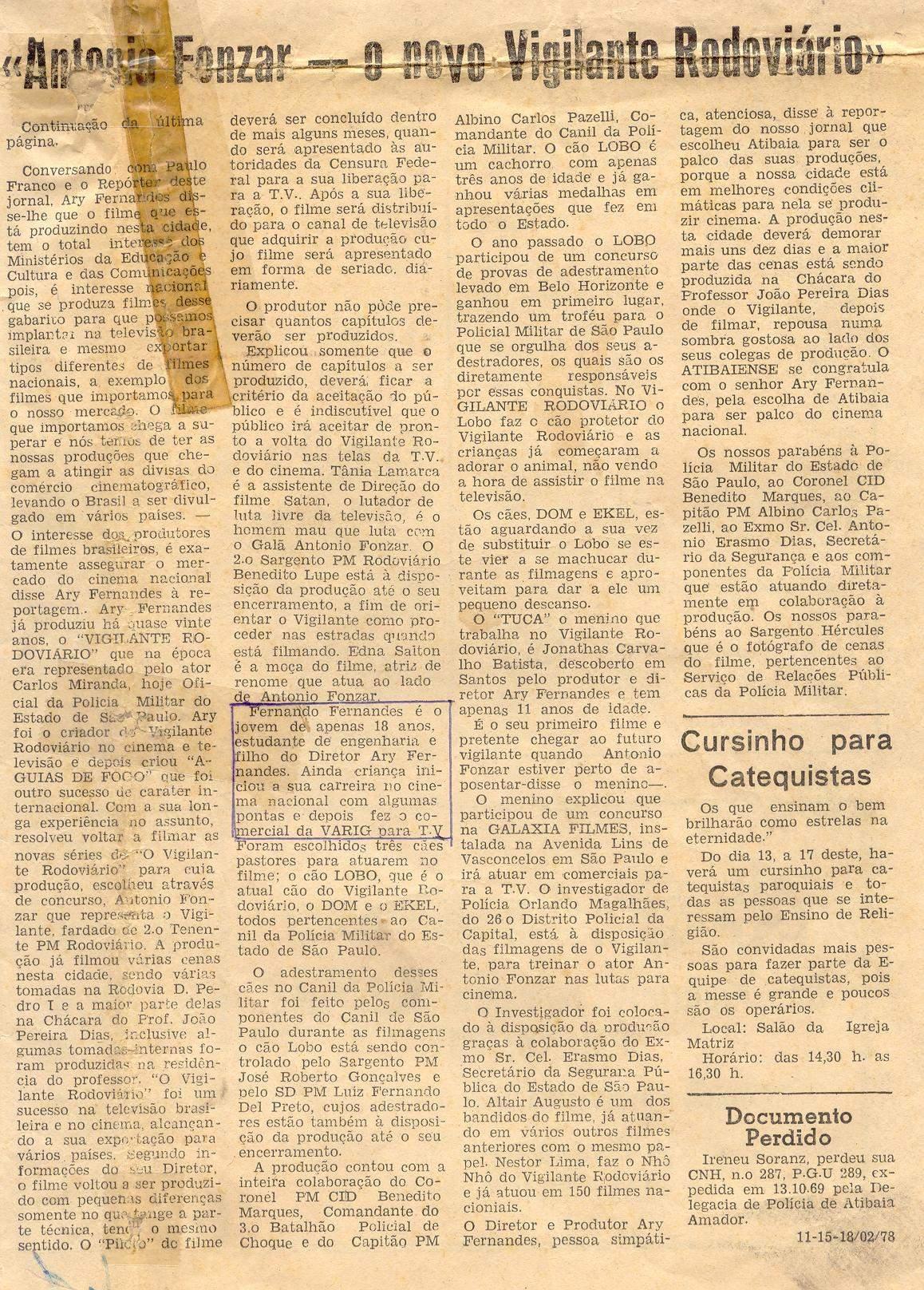 Segundo Vigilante Rodoviário de 1978  Jornal Atibaiense