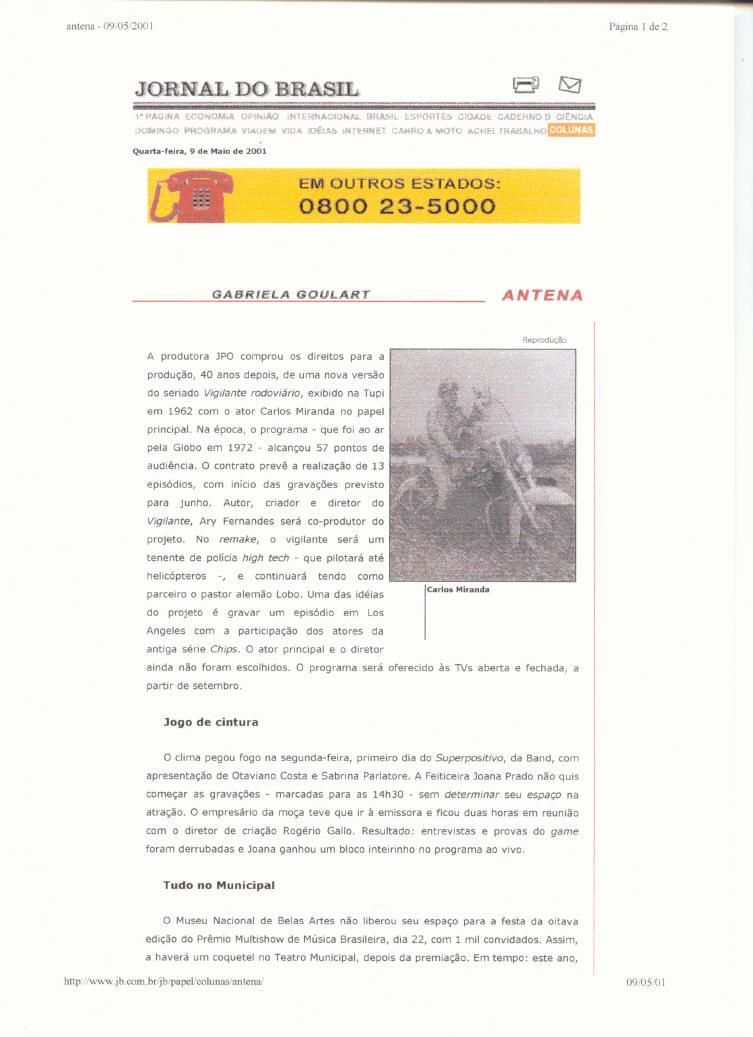 Jornal do Brasil - 09/05/2001